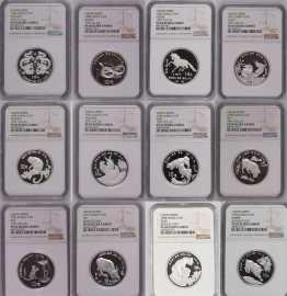 1988-1992年1盎司加厚生肖银币套装12枚