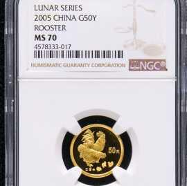 2005年1/10盎司生肖鸡金币
