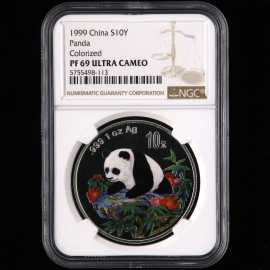 1999年1盎司熊猫彩银币