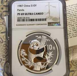 1987年1盎司熊猫金币发行5周年银币