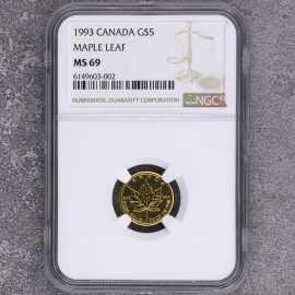 1993年加拿大1/10盎司枫叶金币