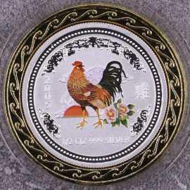 2005年澳大利亚1/2盎司生肖鸡彩银币